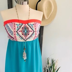 🆕 NWT Flying Tomato Boutique Strapless Boho Dress